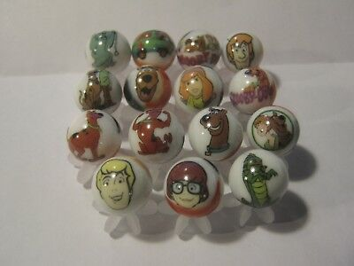 SCOOBY DOO lot collection 5/8 size glass marbles + stands