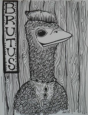 DAILY SKETCH:Original Ink Drawing 'Brutus The Bird' by Michelle Ranson