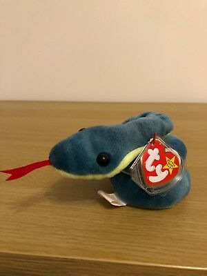 TY Beanie Baby - Hissy the Snake Retired With Protected Tag Excellent Condition