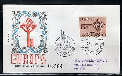 1968 San Marino Europe Stamps Cover First Day Fdc Lot 105