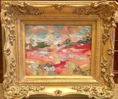 """KADLIC Original Oil Painting Abstract Tuscan Italy Landscape Gold Gilt Frame 10"""""""