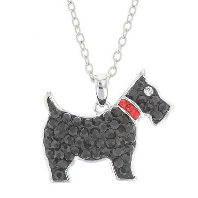 """Rhodium Plated Crystal Scottie Dog Pendant Necklace 18"""" Chain in Jewelry Box New"""