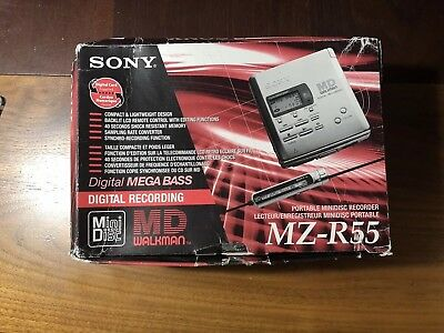 Sony MZ-R55 Portable Minidisc Recorder Player MD W Original Box & Accessoires