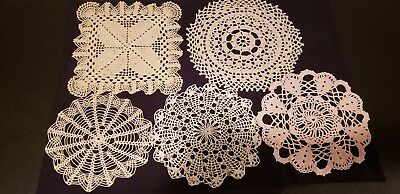 Mixed Lot of 5 Vintage Hand Crocheted Doilies