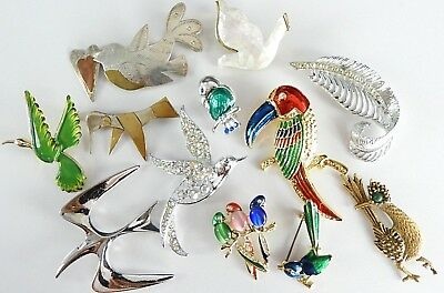 Lot Birds Vintage Now Signed Estate Brooch Brooches Womens Jewelry Enamel Stone
