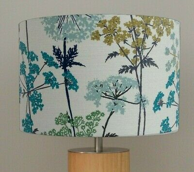 Square Lampshade Made w// Iliv Hedgerow Pistachio Floral Cow Parsley Green Lamp