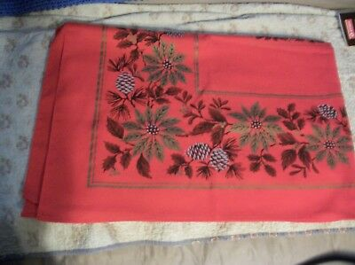 Vintage Red  cotton printed  Pointsettias Christmas Rectangle Table Cloth