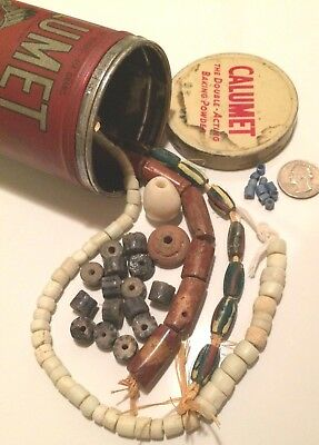 Antique Trade Bead Stash In Collectible Old Calumet Baking Powder Can