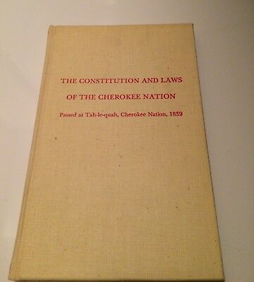 Collectible Book Constitution Laws Cherokee Nation Tahlequah 1839 Native America