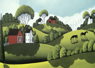 Horse red barn landscape Giclee American art ACEO print of painting Criswell
