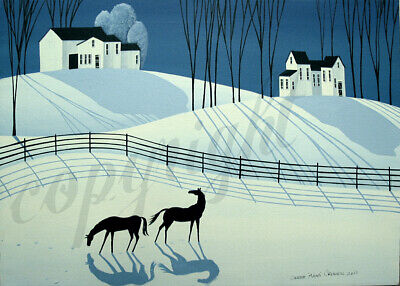 Landscape farmhouse decor horses snow Giclee art ACEO print of painting Criswell
