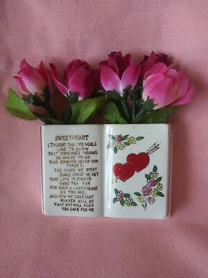 Vintage Sweetheart Book Wall Pocket Made in Japan