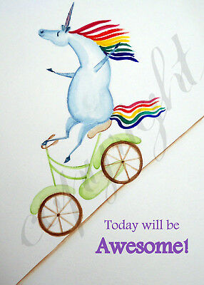 Unicorn funny riding bike rainbow Giclee art ACEO print of painting Criswell