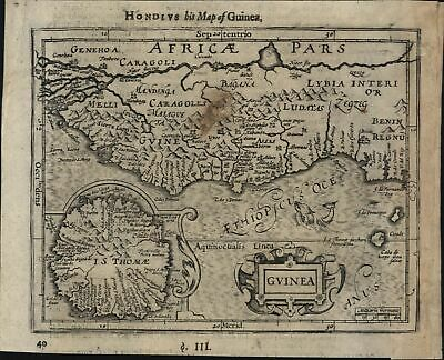 Guinea West coast Africa Slaves 1607 Hondius 1626 Purchas scarce miniature map