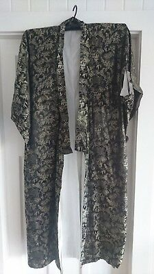 LOVELY BLACK with GOLD & SILVER PATTERN VINTAGE JAPANESE FULL LENGTH KIMONO