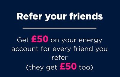 Refer a friend money off coupon voucher for electricity and gas £50 cashback