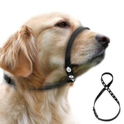 No Bite Bark Leather Dog Head Collar Halter Easy Adjustable Pet Muzzle for Dogs