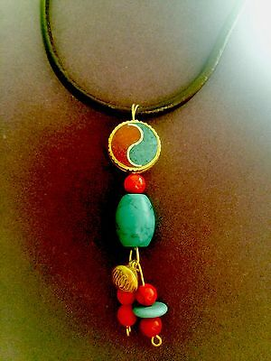 16 In Yin Yang peace & balance  Inlaid Coral And Turquoise Pendant/necklace114