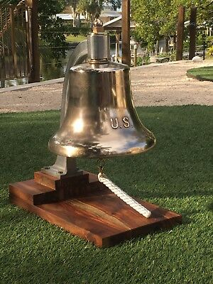 USN United States Navy Brass Bronze Retired Nautical Ships Boat Bell CPO USS US