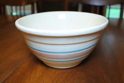 McCoy Stone Craft Number 8 Mixing Bowl Blue & Pink Stripes 1975