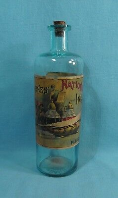 EMBOSSED - Barnes National Ink - COLORFUL & GRAPHIC Label Bottle with Desk Scene
