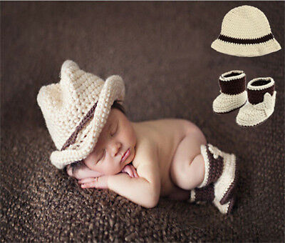 Newborn Baby Girls Boys cowboy Crochet Costume Photo Photography Prop Outfit New
