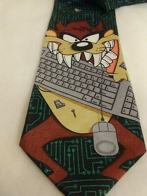 1999 Looney Tunes Mania Taz Tazmanian Devil Neck Tie Vintage Chewing on Keyboard