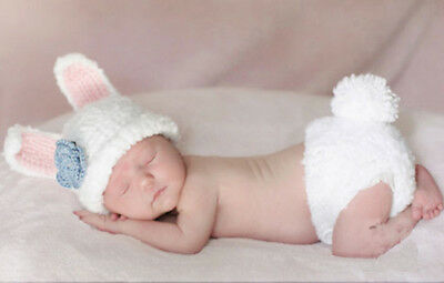 Newborn Baby Girls Boys Rabbit Crochet Costume Photo Photography Prop Outfit Hot