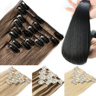 7PCS Premier Human Hair Clip In 100% Remy Real Hair Extensions 8-24Inches US Hot
