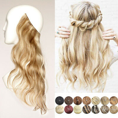 Thick Long Wavy Human Remy Halo Hidden Secret Invisible Wire Hair Extensions