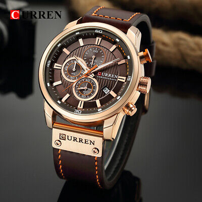 Curren Mens Army Military Chronograph Date Quartz Leather Wrist Watch Waterproof