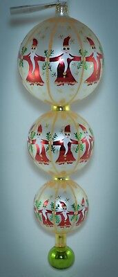 Christopher Radko Triple Drop Ball Christmas Ornament CIRCLE OF SANTAS 01-1062-0