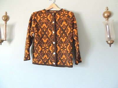 Vtg 50s LAPPLANDIA KOWE Knit Sweater Wool Abstract Floral Gold Brown Made SWEDEN