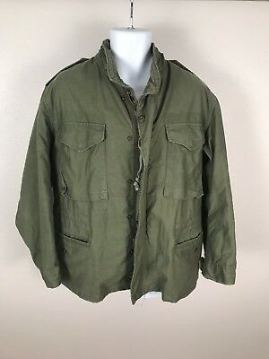 Vintage Military OG-17 Green Hooded Cold Weather Field Army Jacket Sz M