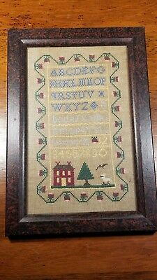 Vintage Antique Framed Hand Stitched Needlepoint ABC's 123's Reader Very Old