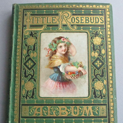 RARE Antique 1874 CHILDREN'S Book ROSEBUDS Album 130 Engravings * GILT Embossed