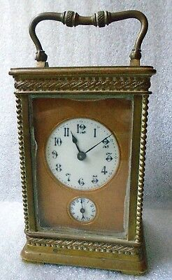 fine antique French carriage clock with bell alarm runs