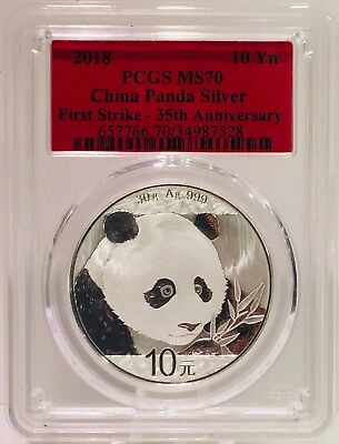 2018 China Silver Panda MS70 Coin First Strike 35th Anniversary 10 Yn Red Label!