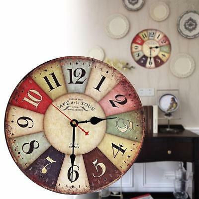 Wooden Shabby bracket Analog Clocks Chic Rural Retro Kitchen Home Curio Decor WT