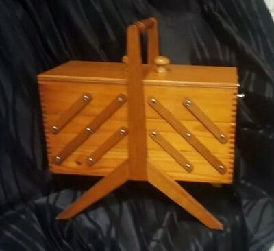 Vintage Hand Made Wooden Sewing Case / Box
