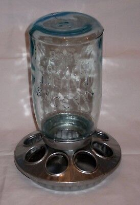 VTG Galvanized Small Chicken/Bird Feeder Green Glass 1858 Mason Jar 1 QT!