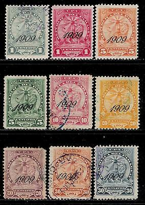 PARAGUAY 1909 About 110 Years Old Overprinted Stamps - Sentinel Lion at Rest