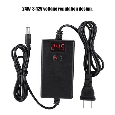 AC DC 1-36V 1-2A Power Supply Adapter Charger Light With LED Digital Display