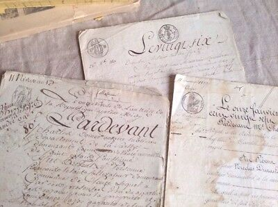 Antique French Letters 3 pc 1800s Old Legal Documents 19C  Paper Ephemera - Rare