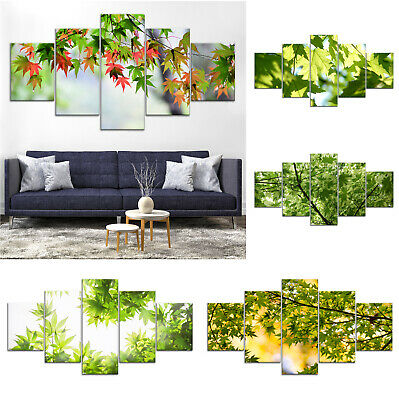 Green Maple Tree Canvas Print Painting Framed Home Decor Wall Art Poster 5Pcs