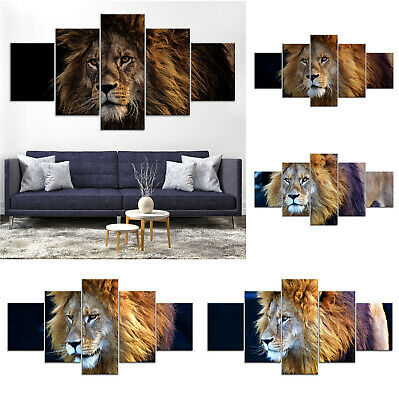 Lion Animal Modern Canvas Print Painting Framed Home Decor Wall Art Poster 5Pcs