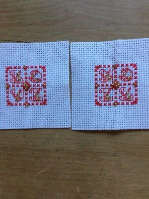2 X Completed Mini Christmas Cross Stitch Noel And Love