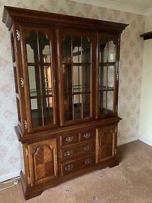 Beautiful Antique Wooden Breakfront Bookcase  Glass Display Cabinet