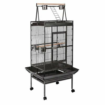 Large 173cm Play Top Roof Parrot Aviary Bird Cage Perch Ladder On Wheels