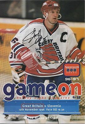 Nov 96 GREAT BRITAIN v SLOVENIA at Sheffield autographed by Shannon Hope GB Capt